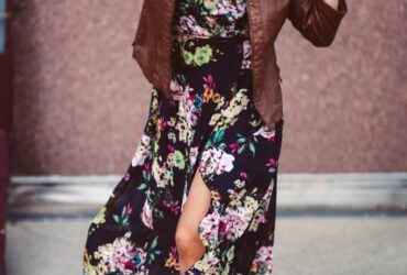 floral maxi dress with hat and booties. boho outfit
