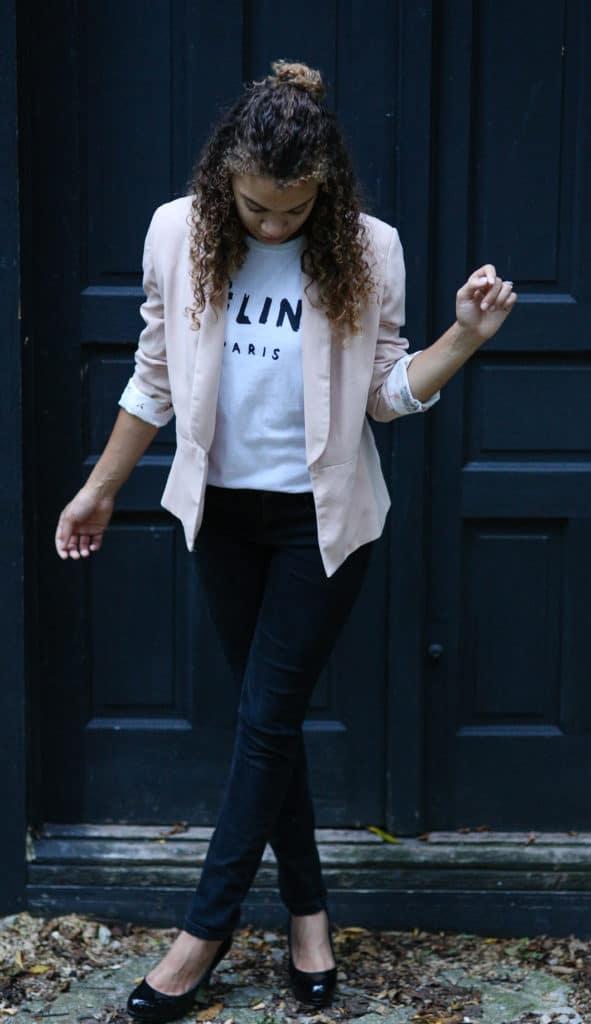 pink blazer and celine shirt