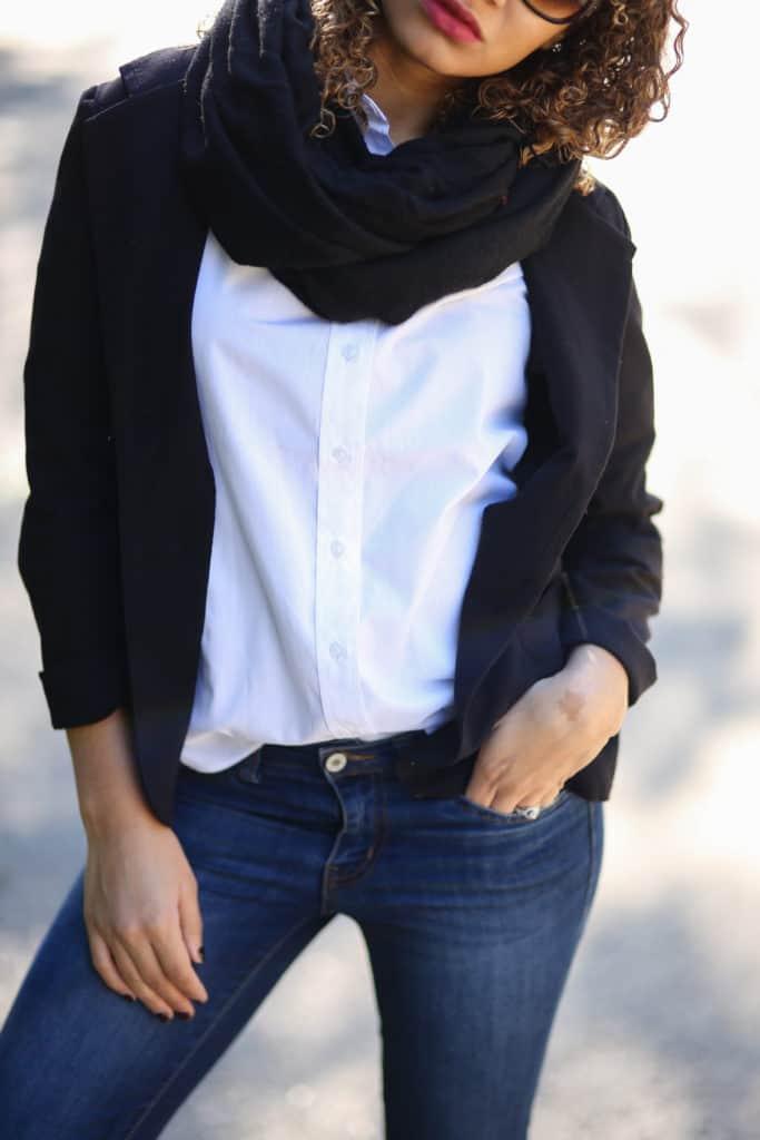 scarf and black blazer