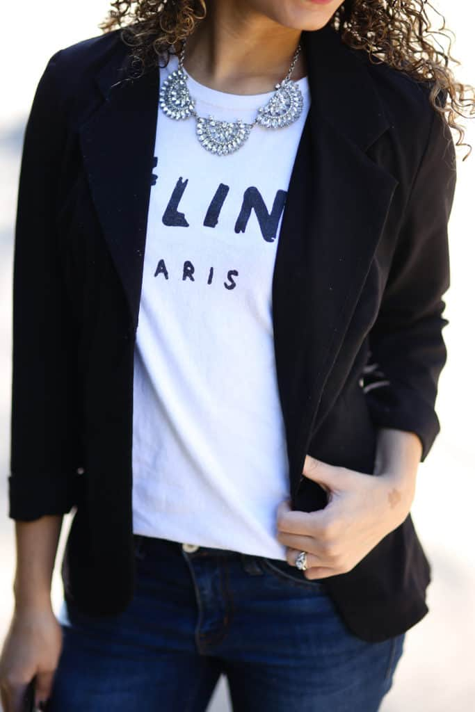 black blazer and celine shirt