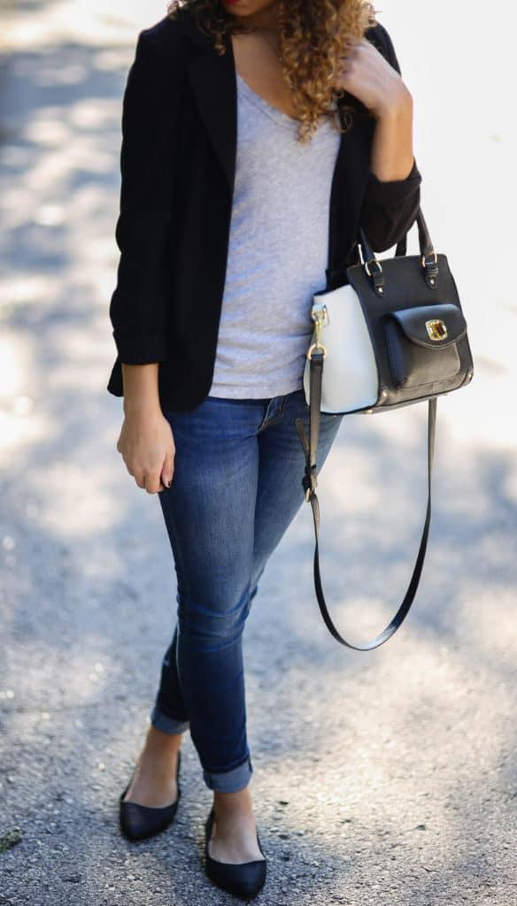 black blazer and gray tee