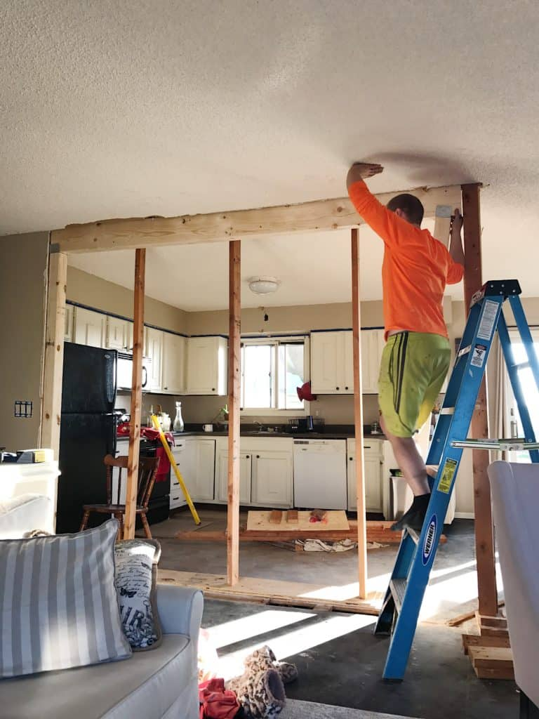 split level open wall renovation