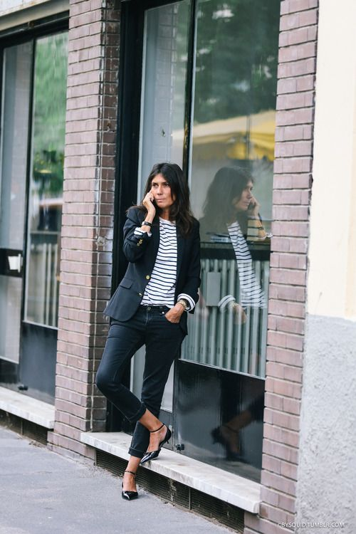 blazer and stripes outfit