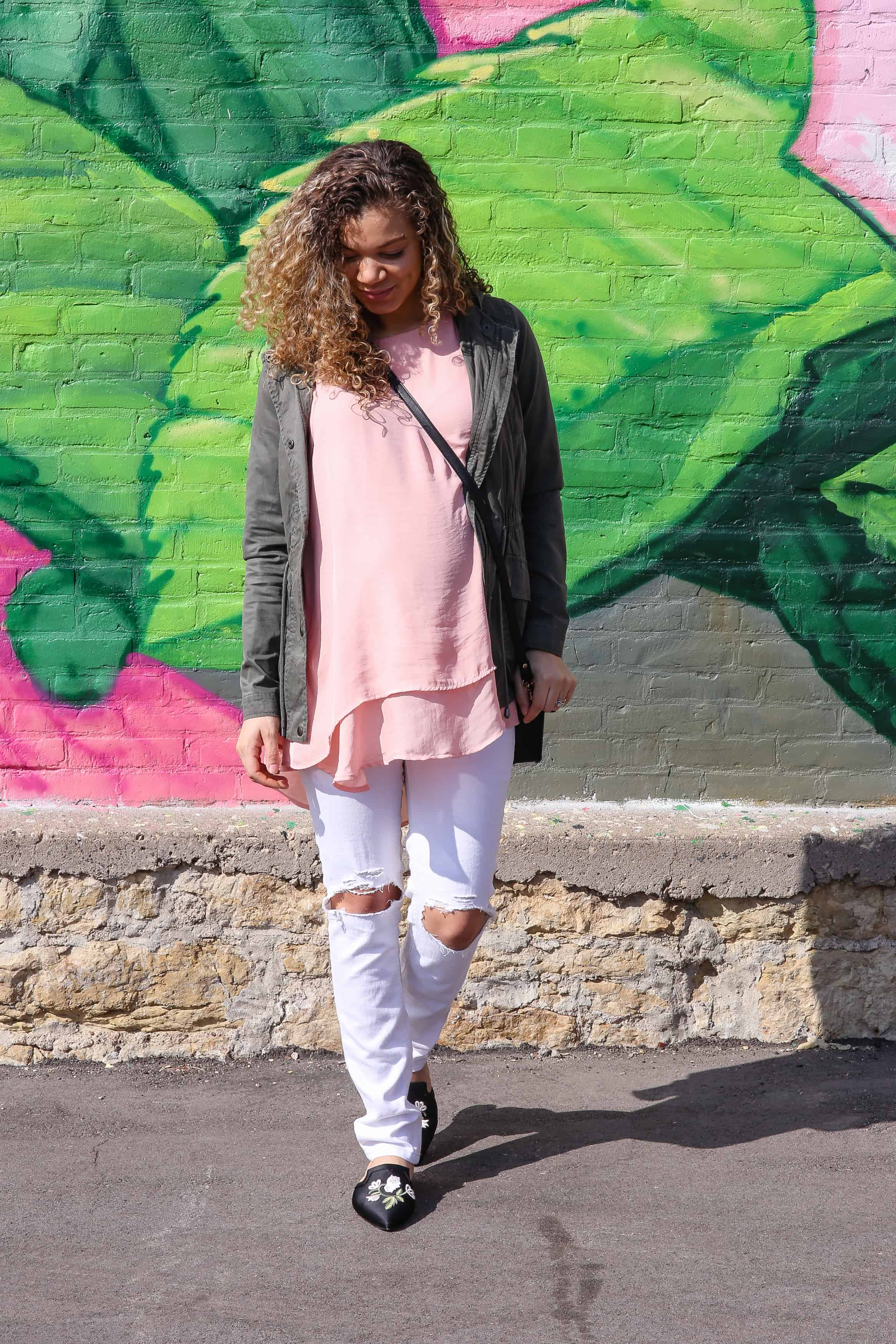 Blush Pink and Olive Green Color Combo Outfit for Spring - My Chic Obsession 2a8436ebf