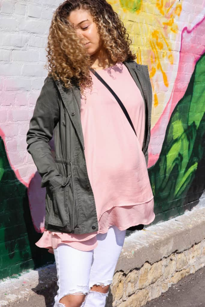 Blush Pink and Olive Green Color Combo Outfit for Spring - My Chic ... e30a74d9b
