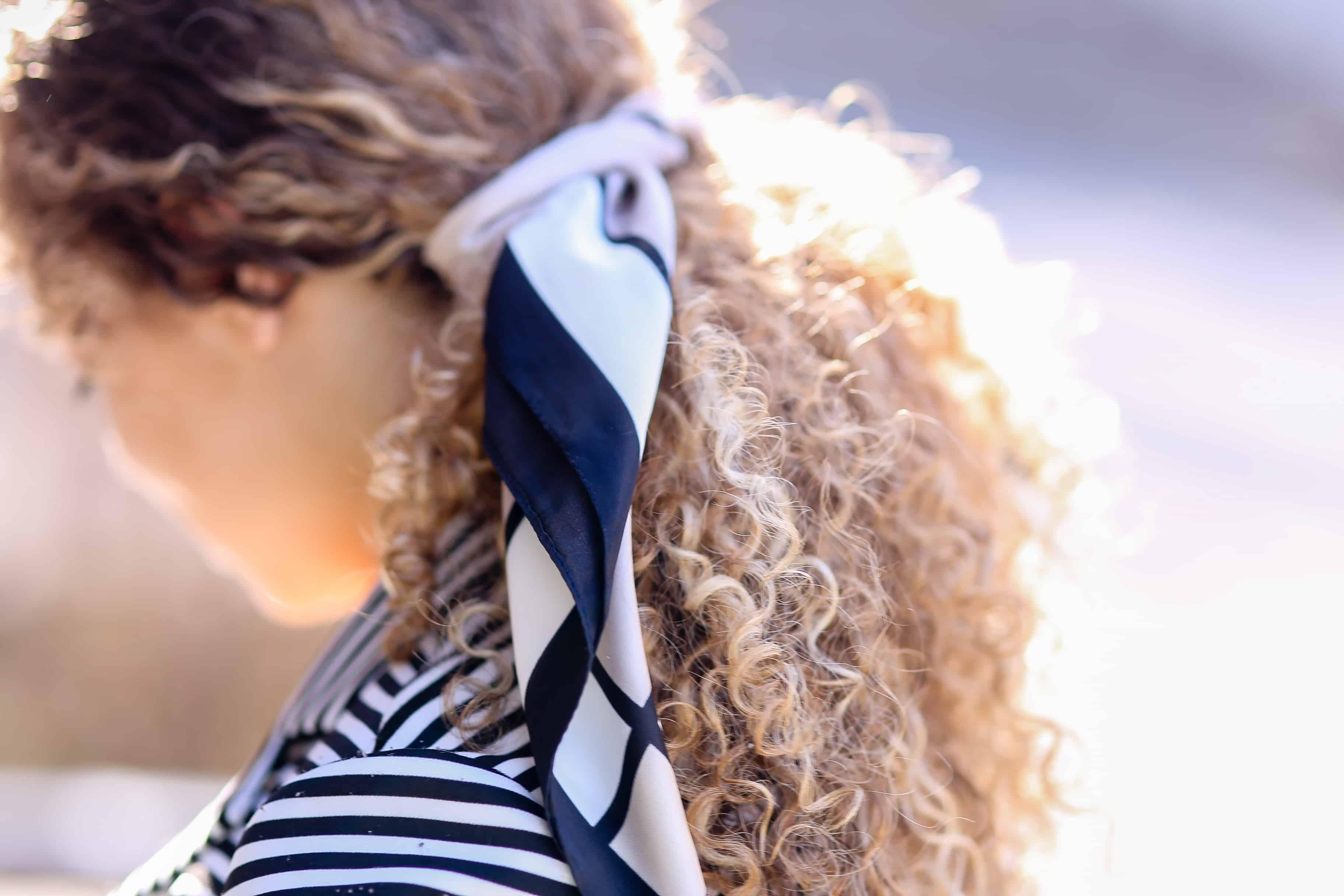 satin scarf in hair