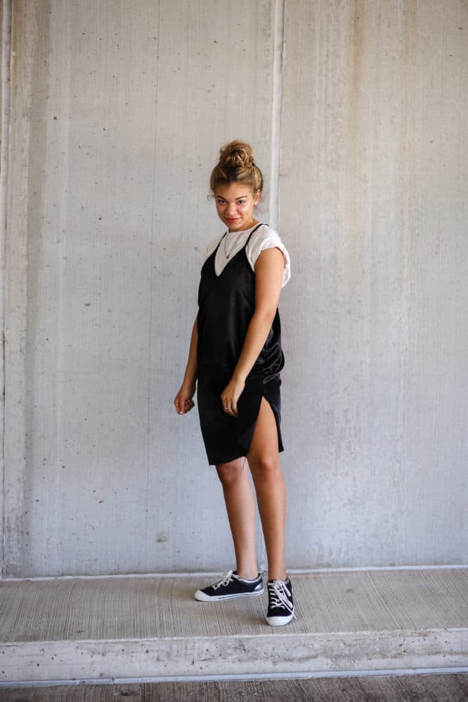 slip dress outfit