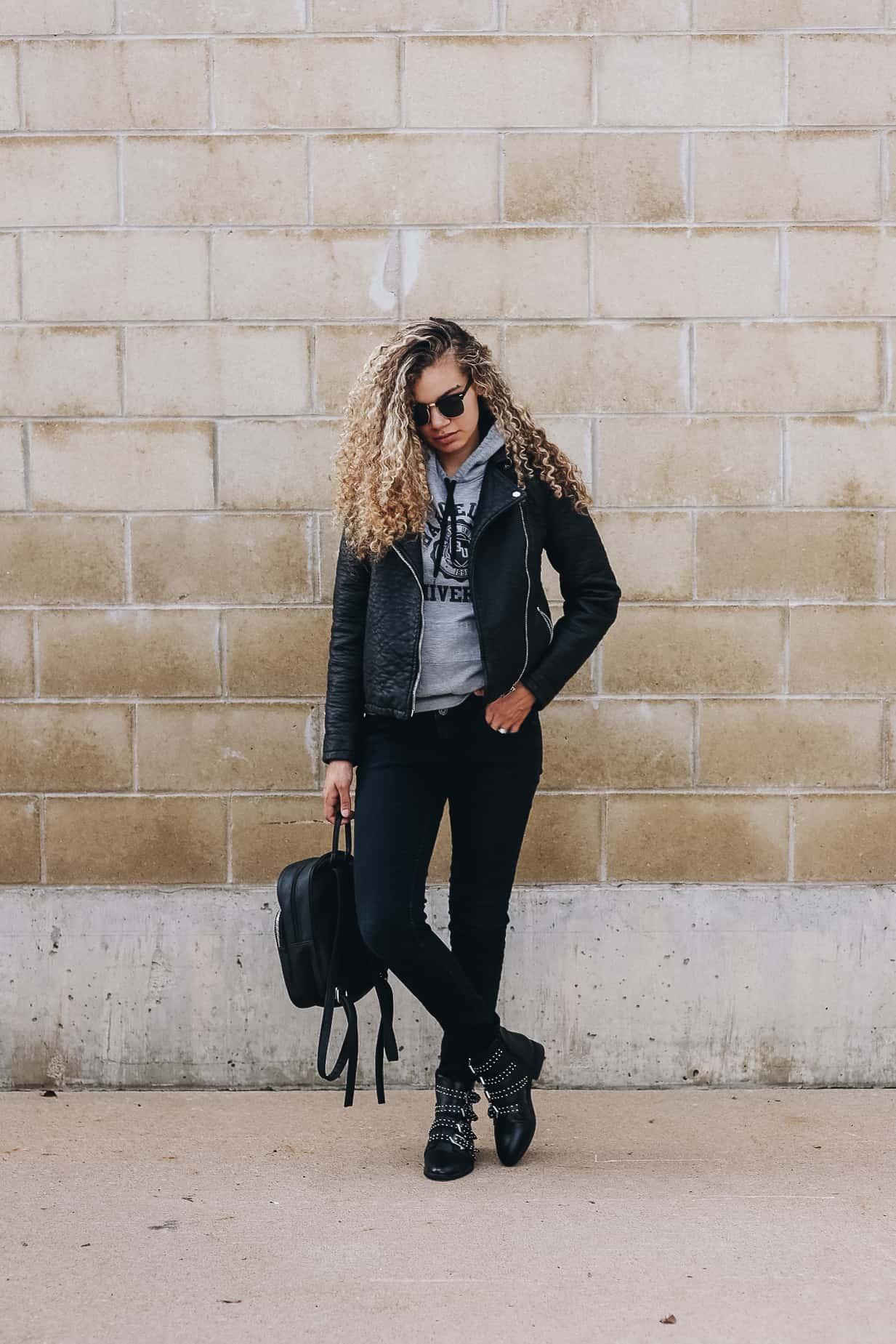 b5cc0c6d640 shop similar outfit deets: moto jacket | sweatshirt | jeans | boots |  backpack