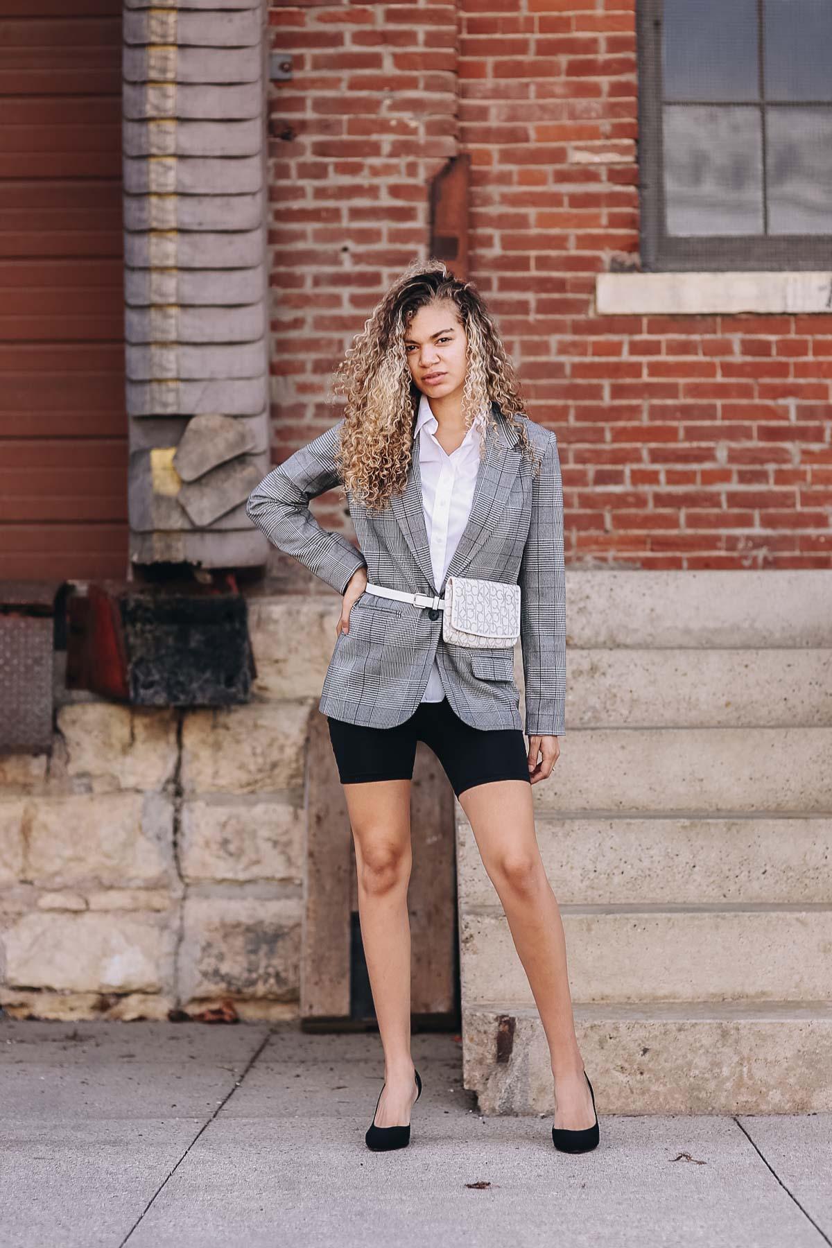 belt bag and biker shorts