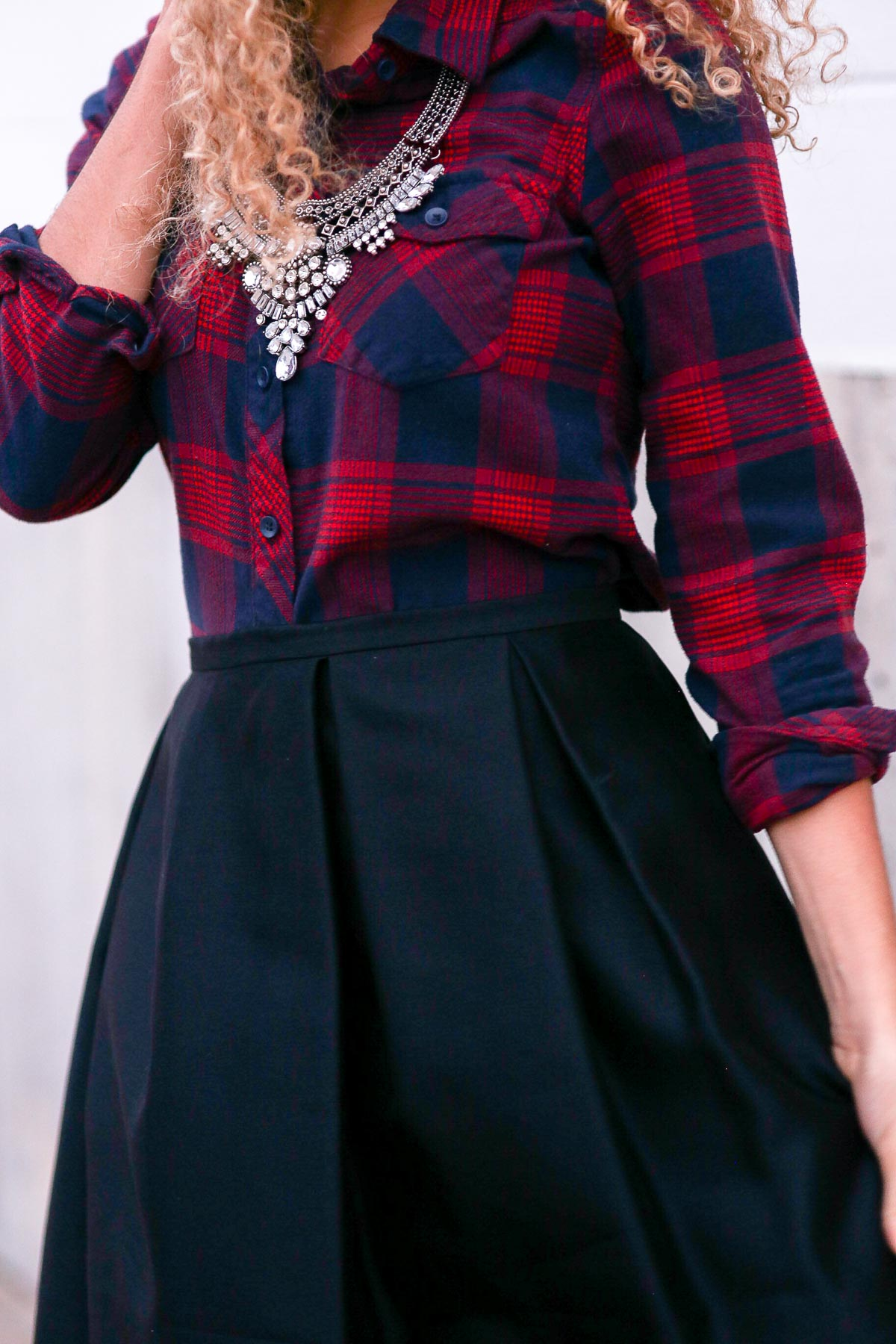 holiday outfits featuring a high waist skirt and a plaid shirt