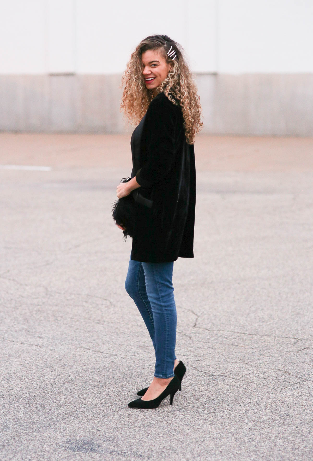 holiday outfits featuring a black velvet blazer
