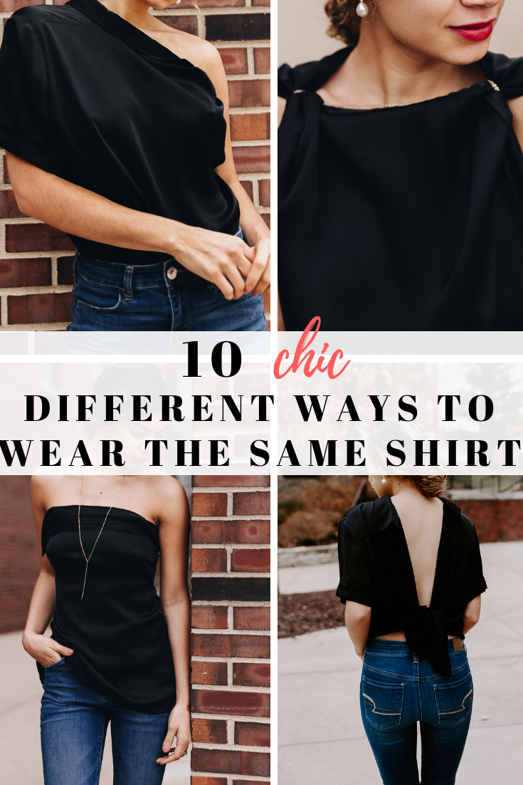 Here are different outfit ideas wearing the same silk top!