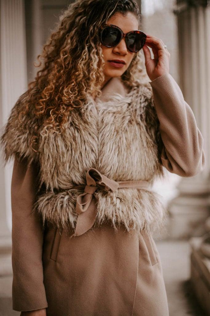 camel coat with faux fur vest
