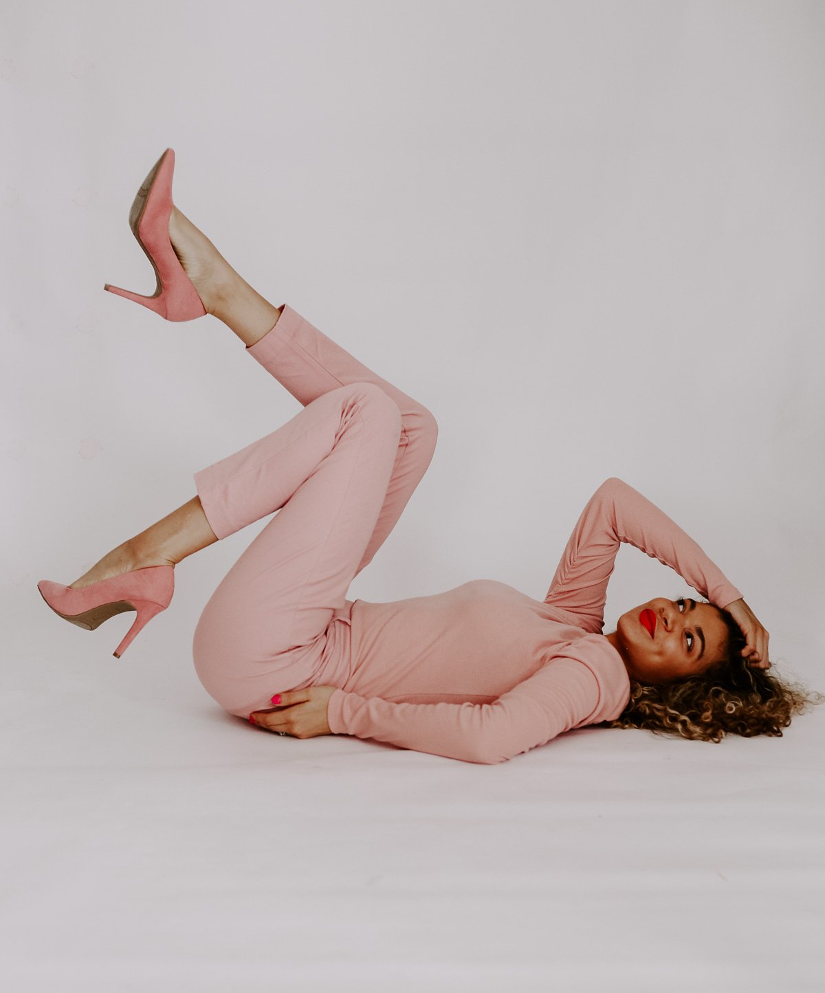 This all millennial pink outfit is perfect for Valentines Day or its a great spring outfit idea too!