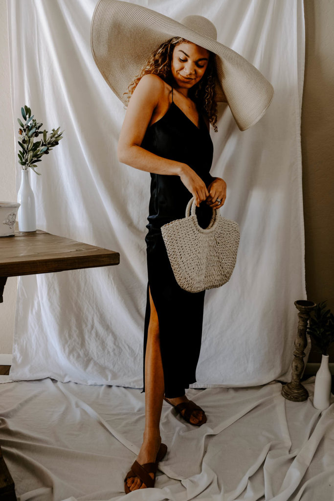 This slip dress outfit paired with this straw hat is the perfect summer outfit for vacation or any beach place!