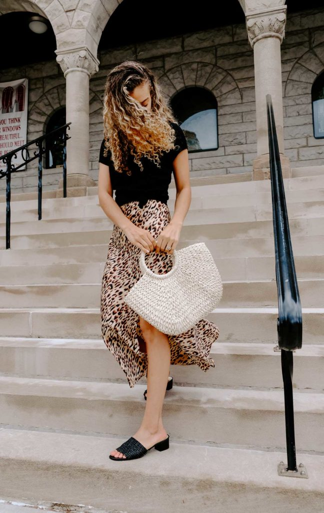 Want to be Parisian chic and dress how the french do? These are the French spring outfit combos that all the girls are wearing right now. All the French spring fashion inspo is here! This leopard print slip skirt/ slip dress would be a perfect spring and summer outfit go-to.