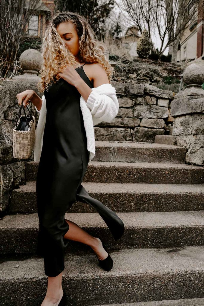 black slip dress outfit for your french spring fashion looks