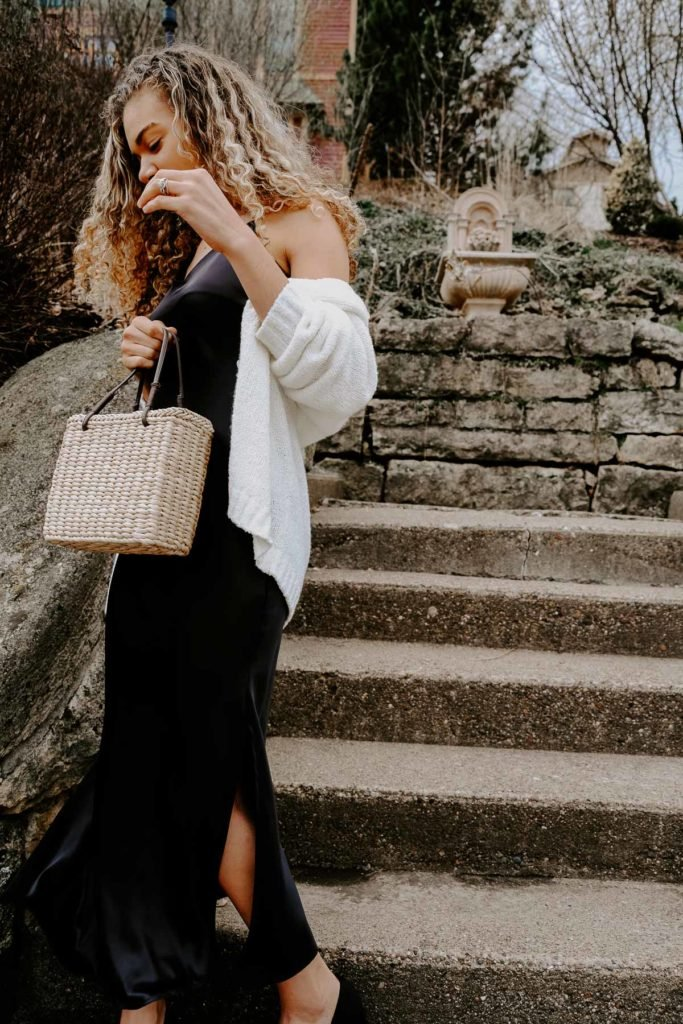 slip dress outfit and straw bag inspired by french fashion