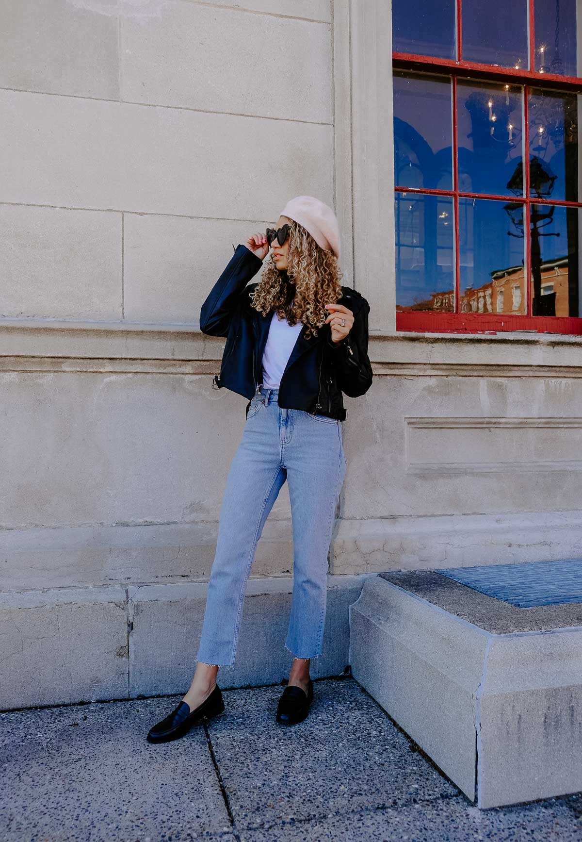 straight leg jeans and suspender outfit inspired by french fashion