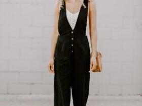 Black linen jumpsuit outfit for summer