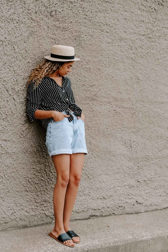 mom shorts summer outfit with a striped button down