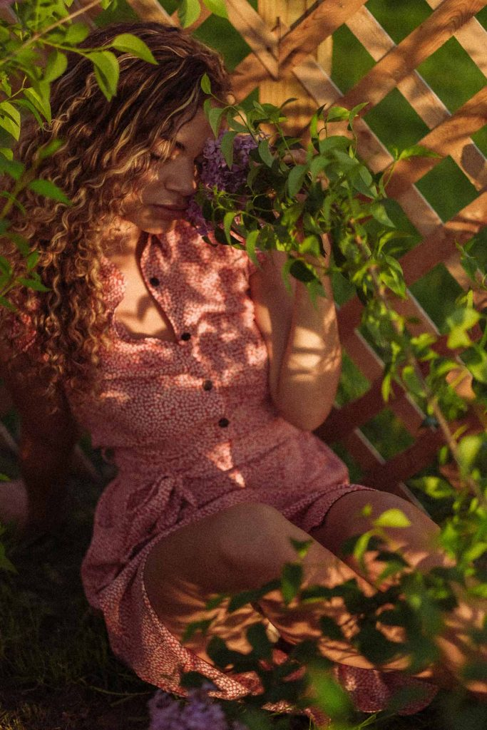 golden hour photoshoot in the garden