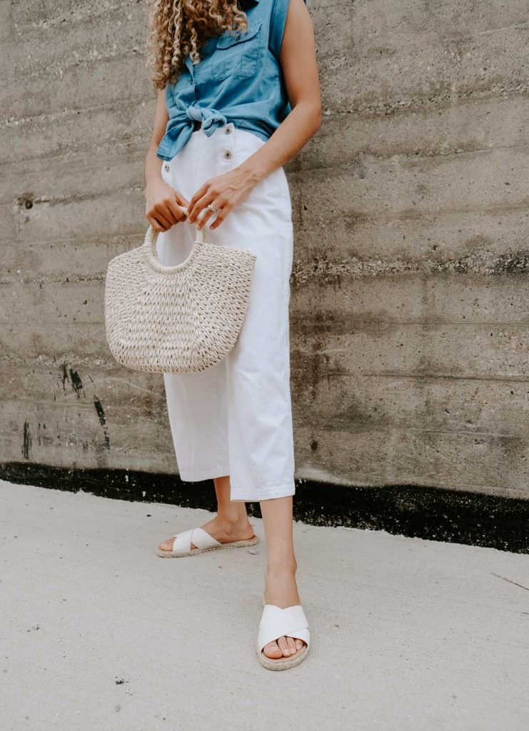 white denim culottes summer outfit with a denim top