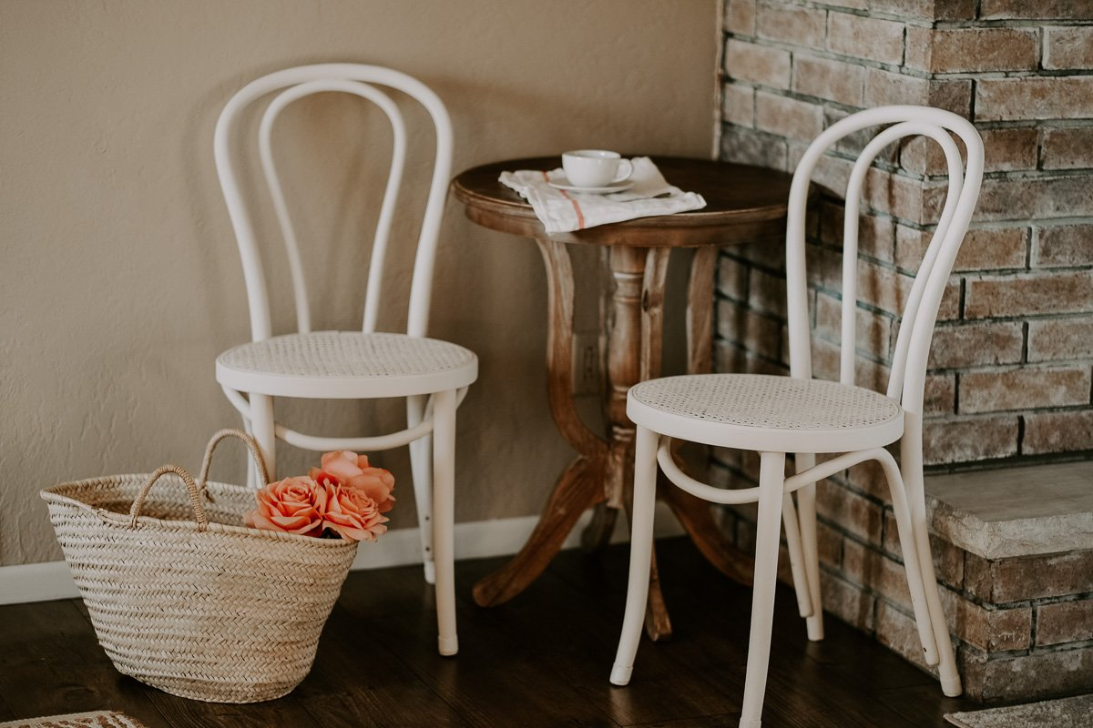 cafe set in dining room for a breakfast nook