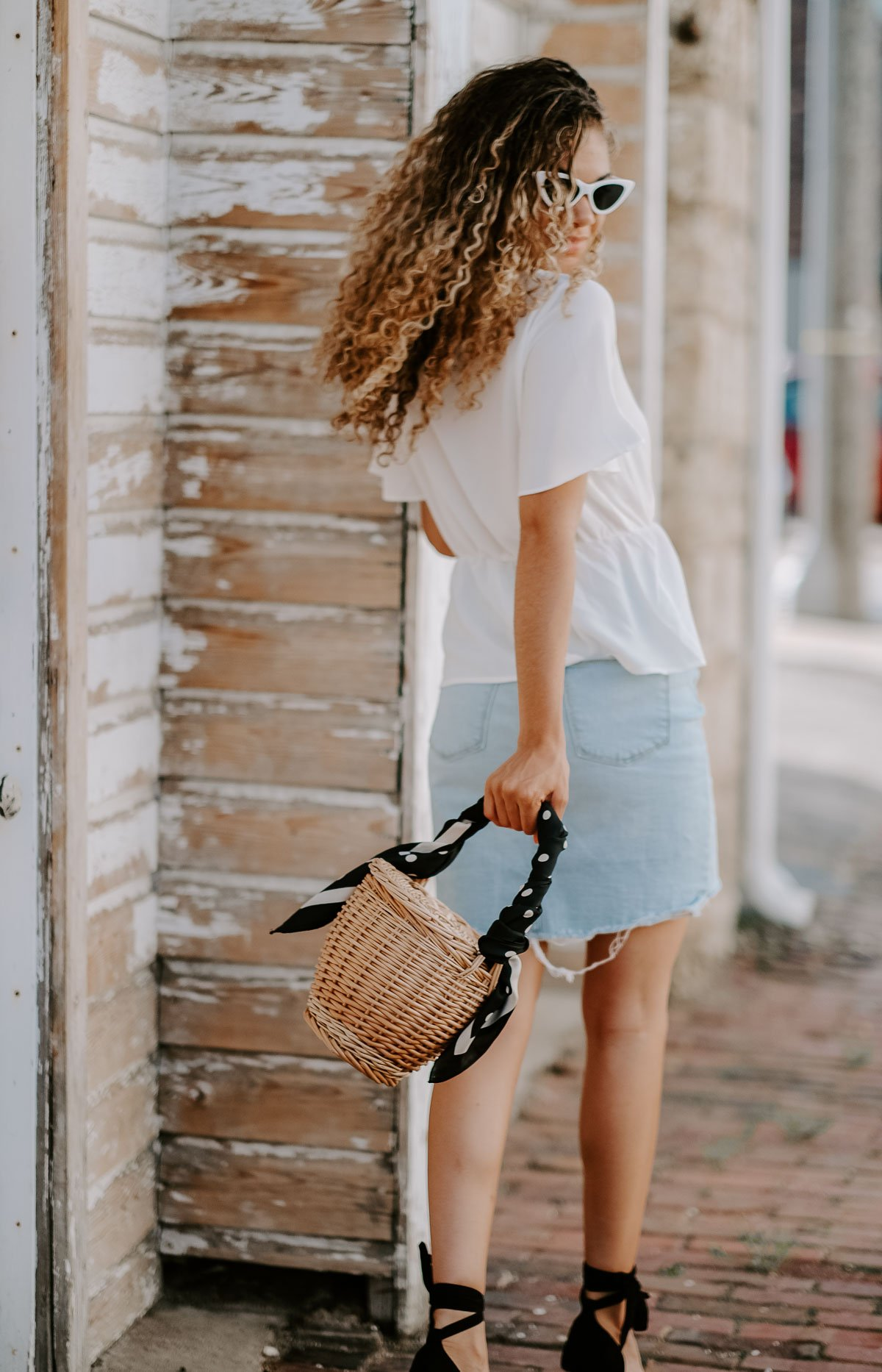 denim skirt and espadrilles Parisian style summer outfit