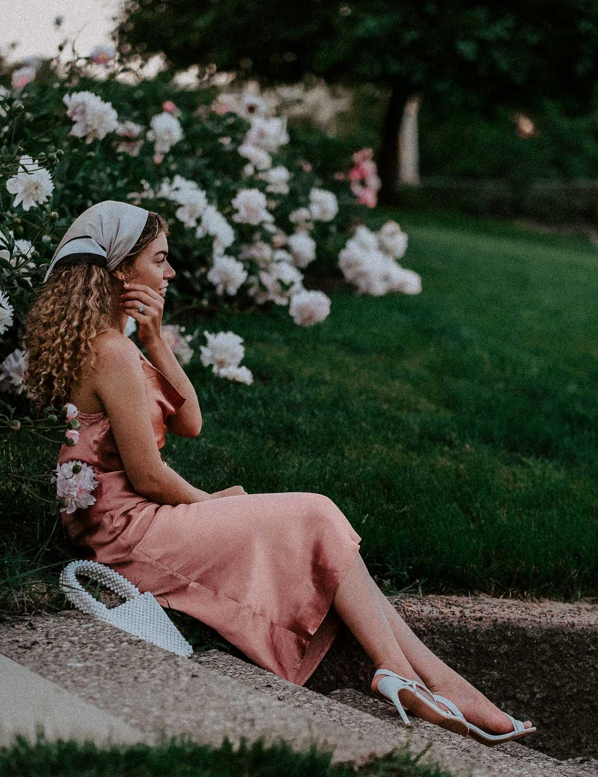 slip dress and peony photoshoot
