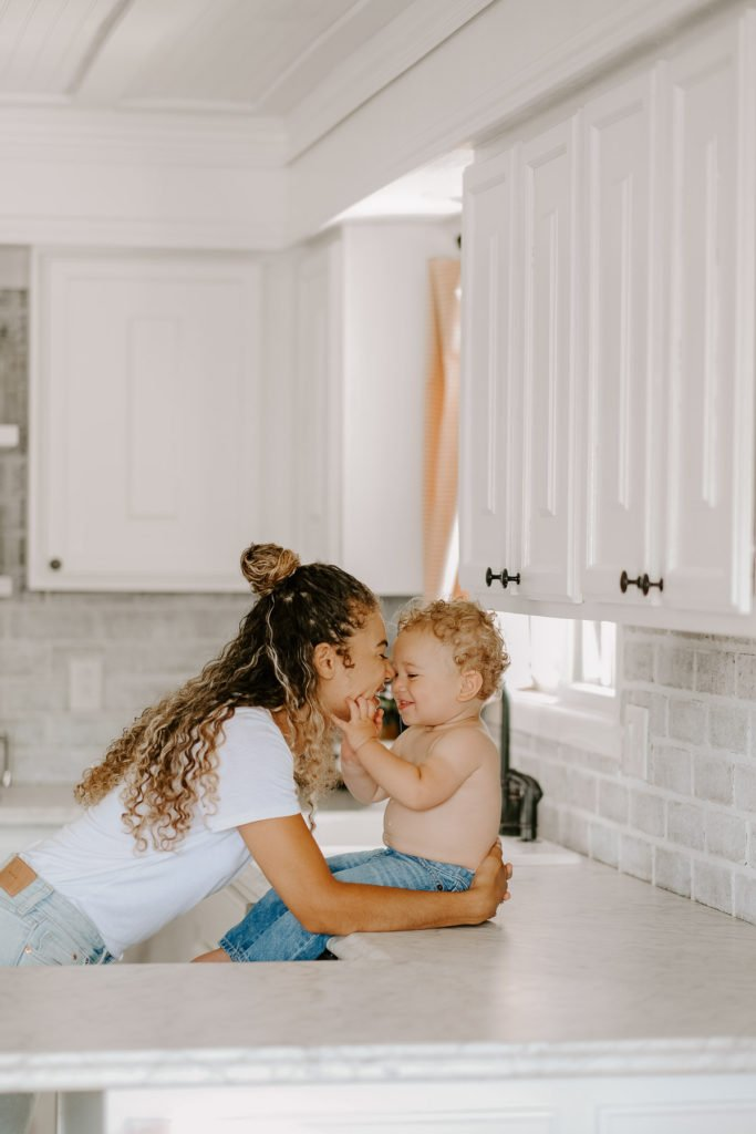 mother and son family kitchen lifestyle photography