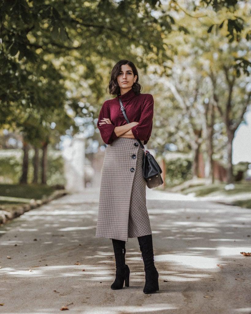 midi skirt fall outfit