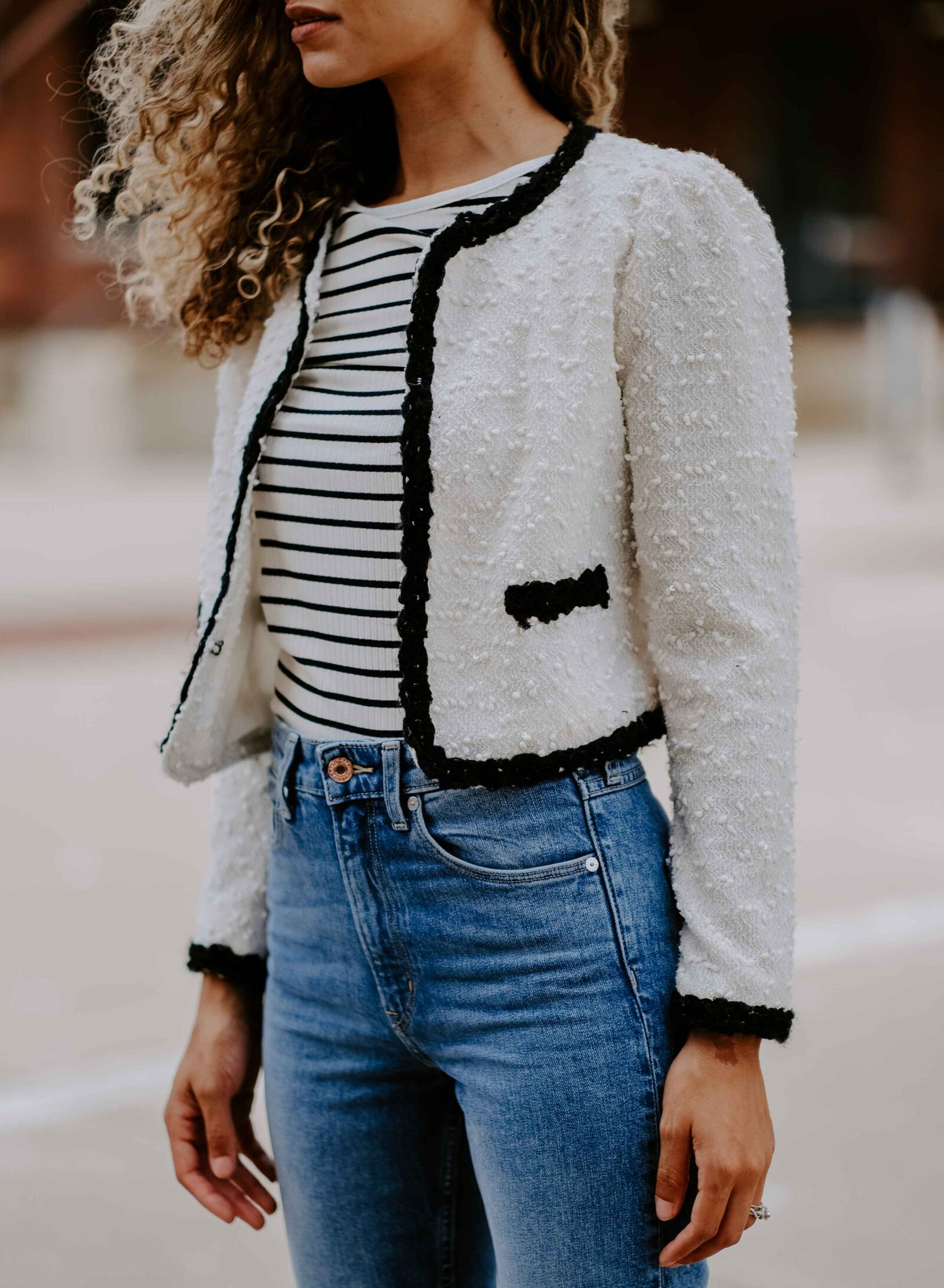classy tweed jacket outfit