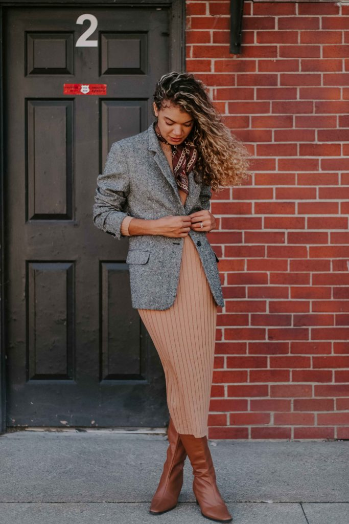 midi sweater dress outfit