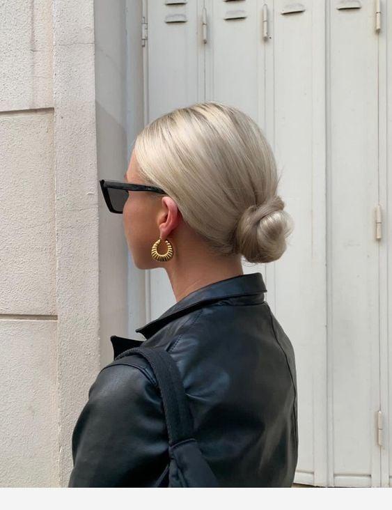low bun hairstyle