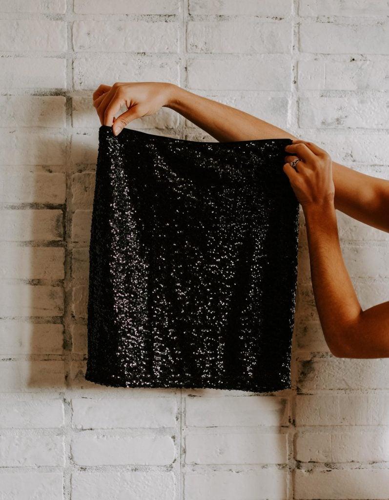 black sequin skirt