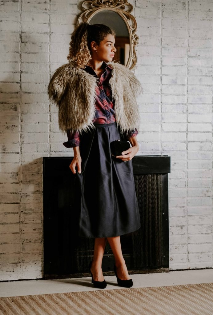 faux fur jacket and plaid top