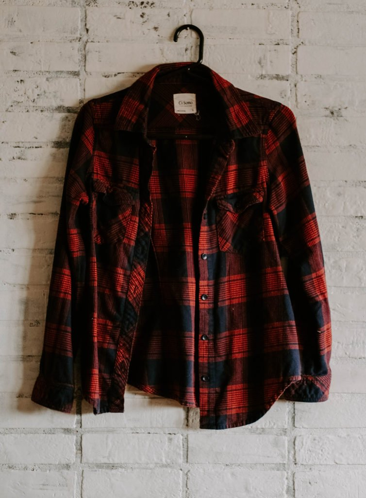 red and blue plaid shirt