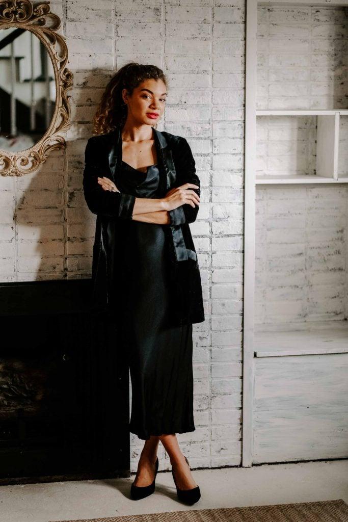 black velvet blazer and slip dress