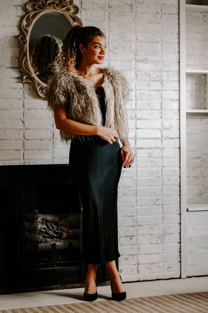 faux fur coat and slip dress