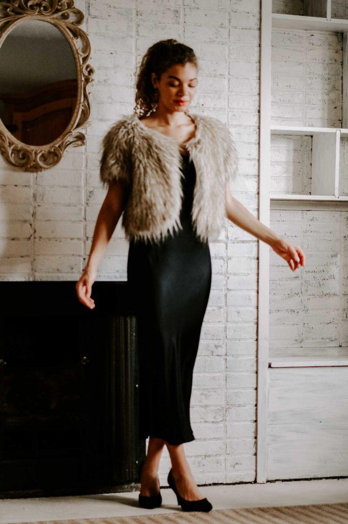 faux fur vest with slip dress