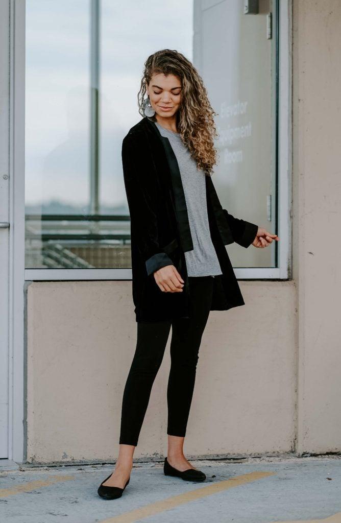 velvet blazer with leggings