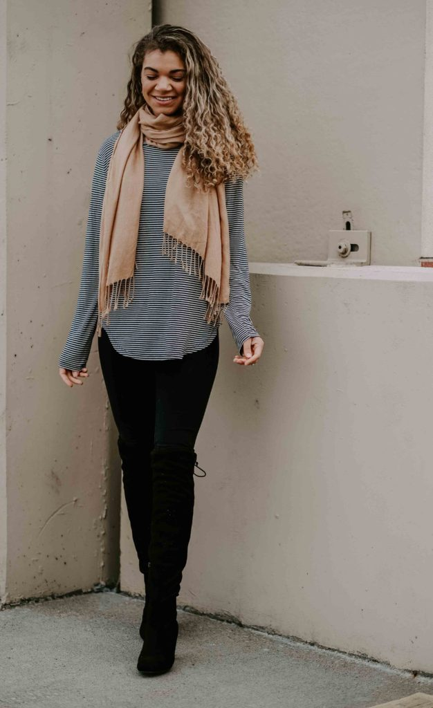 striped top with leggings