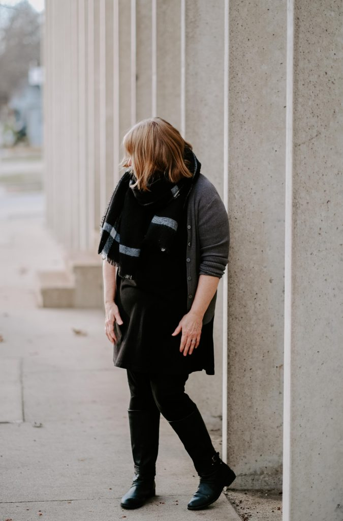 fashion over 50 blanket scarf outfit