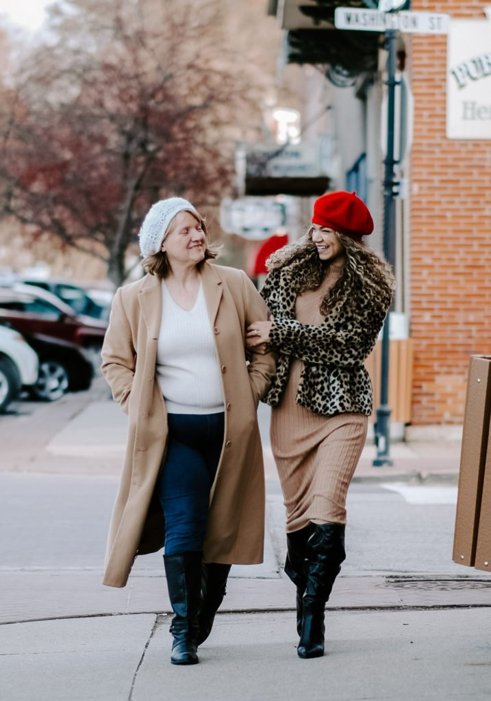 stylish mother and daughter