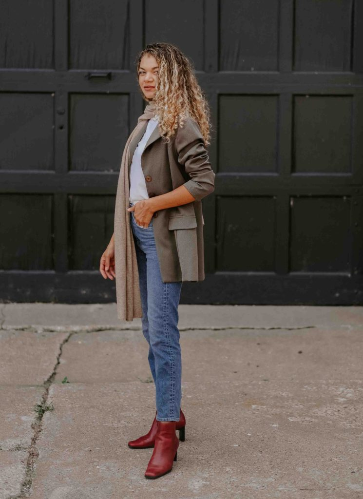 scarf and blazer outfit