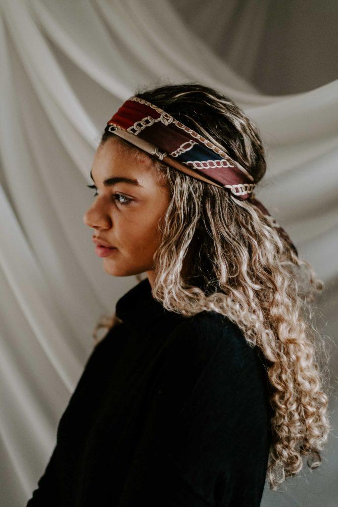 silk scarf in hair