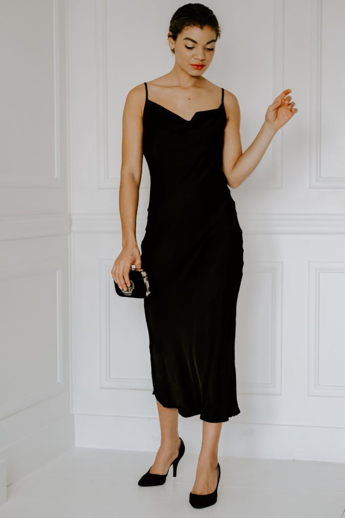 black slip dress outfit