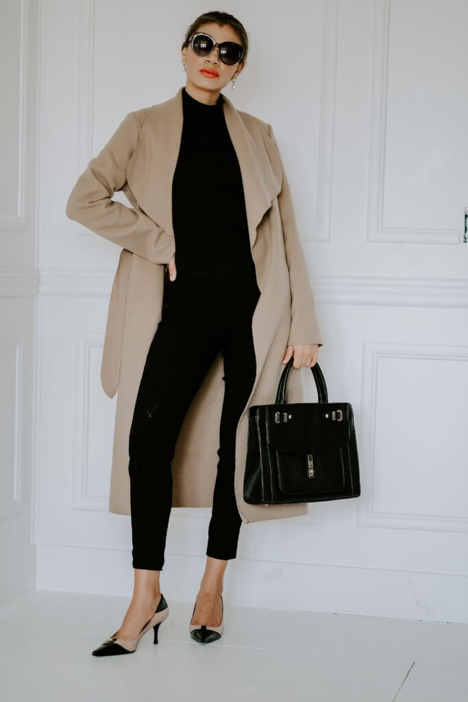 camel coat classic outfit