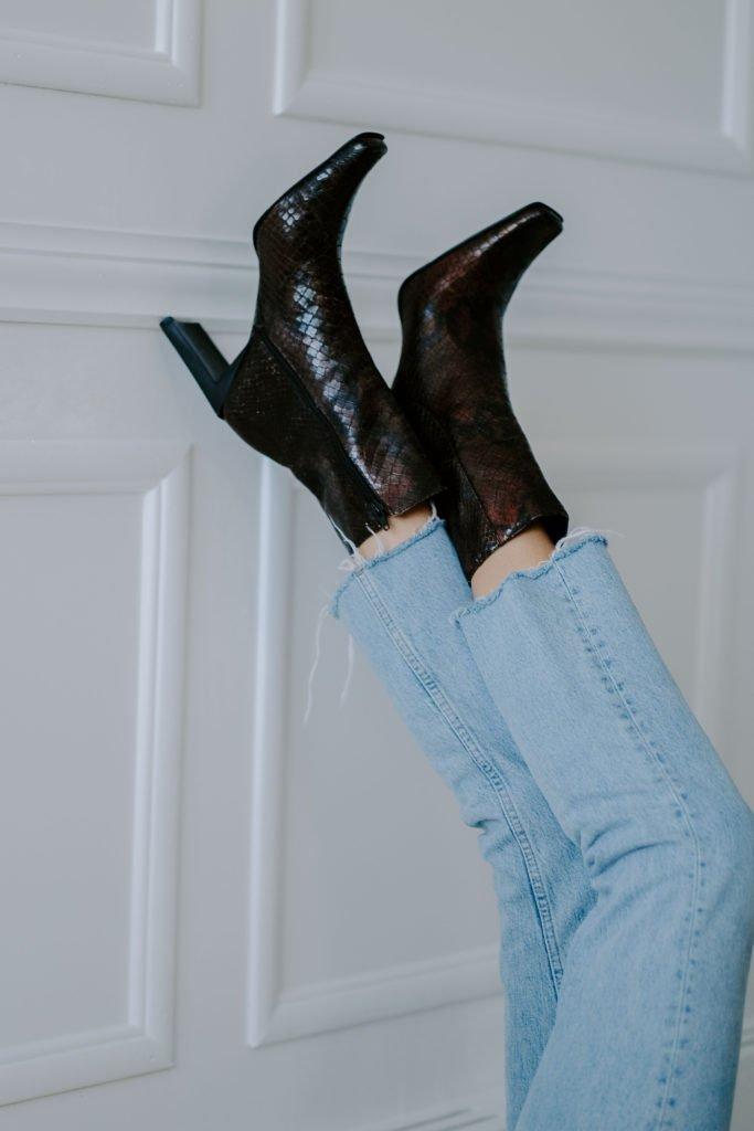 crocodile square toe ankle boots